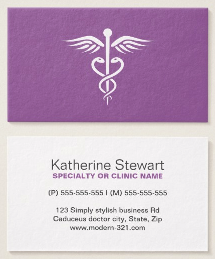 Minimalist Purple Caduceus Business Cards For Medical Doctors And Nurses Women