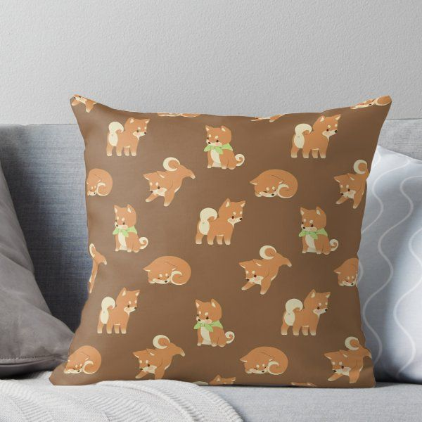 Tiny Shibas Throw Pillow By Afternoonfika Throw