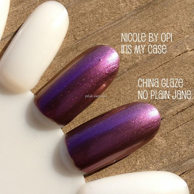 China Glaze No Plain Jane vs. Nicole by OPI Iris My Case - Are They ...