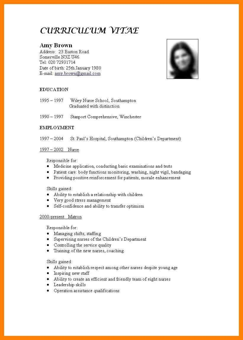Standard Format For Cv Fieldstationco Resume Standard