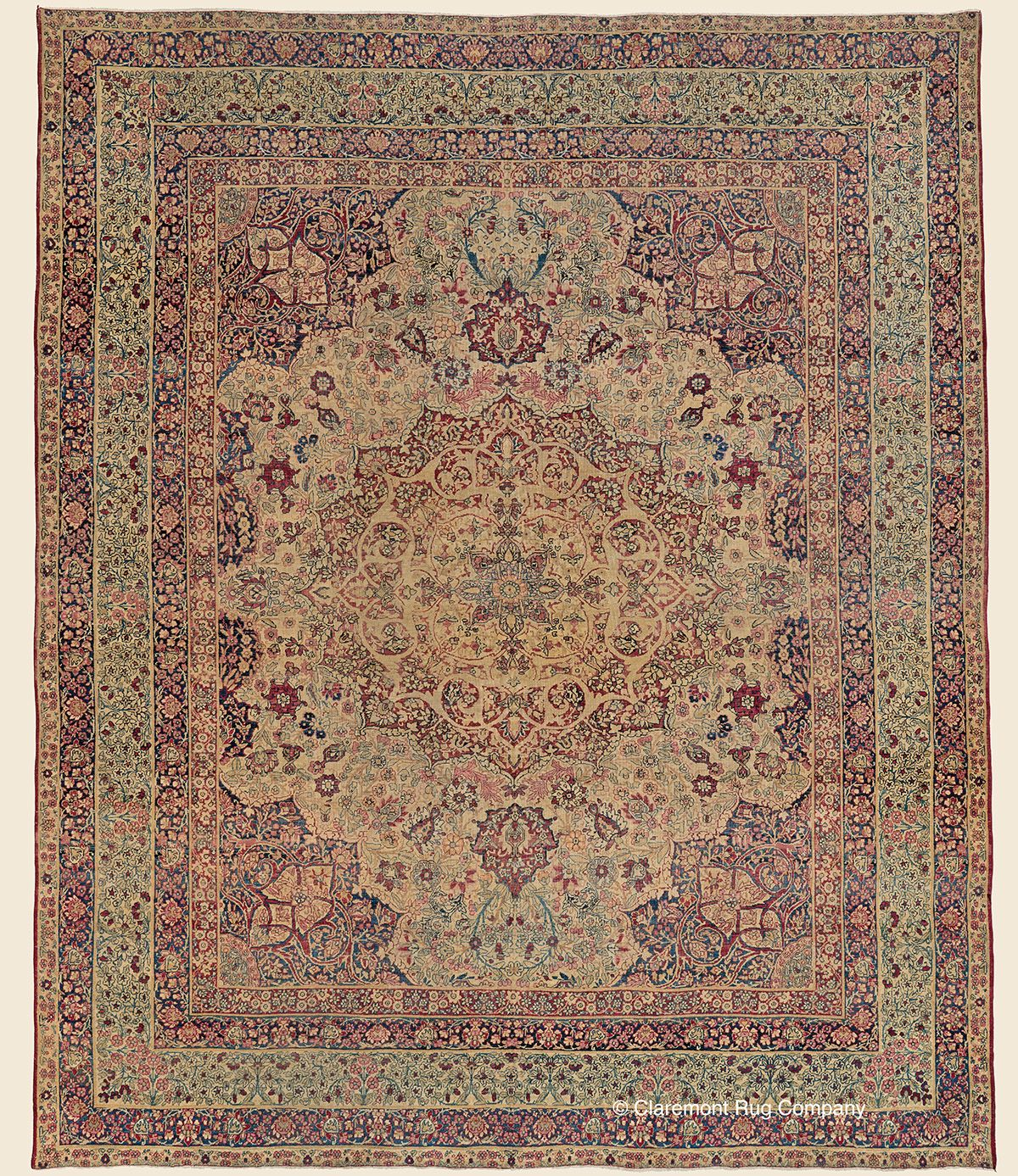 Laver Kirman 8 11 X 10 6 Circa 1850 Southeast Persian Antique Rug Claremont Rug Company Click To Learn Claremont Rug Company Rug Company Antique Rugs