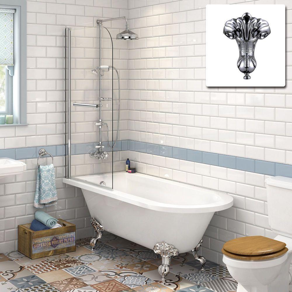 Victorian Bathroom Traditional Roll Top Bathtub & Shower Bath Glass ...