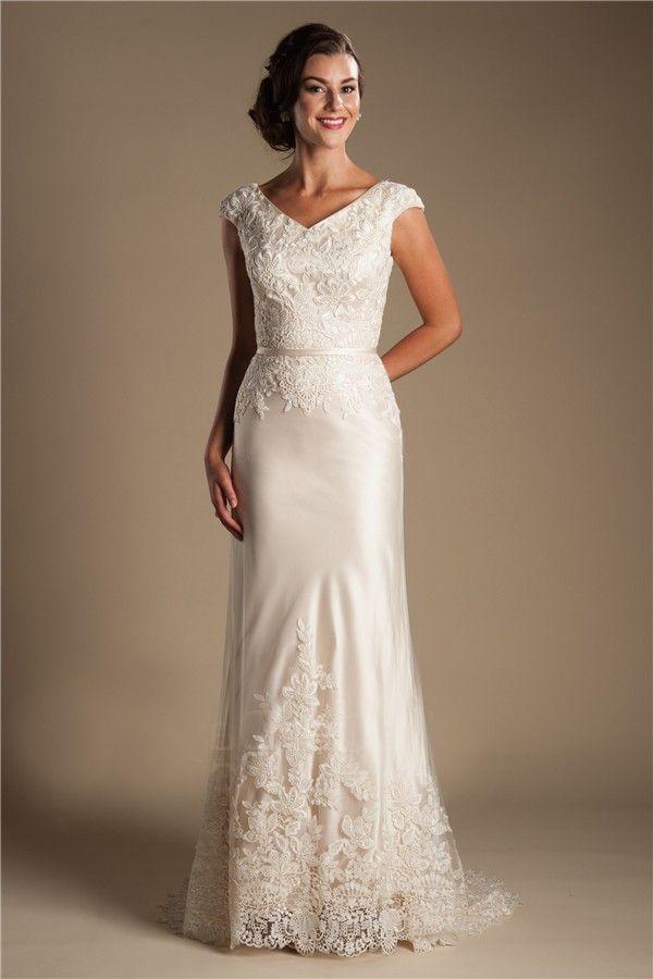 Best Modest V Neck Cap Sleeve Champagne Satin Lace Wedding Dress With Belt