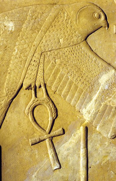 Relief Depicting Horus As A Falcon Carrying The Ankh Symbol Of Life
