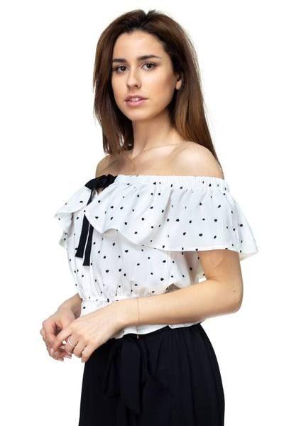 ce6b9486fde Splat Print Ruffle Cropped Shirt in 2019 | Cute Tops | Crop shirt ...