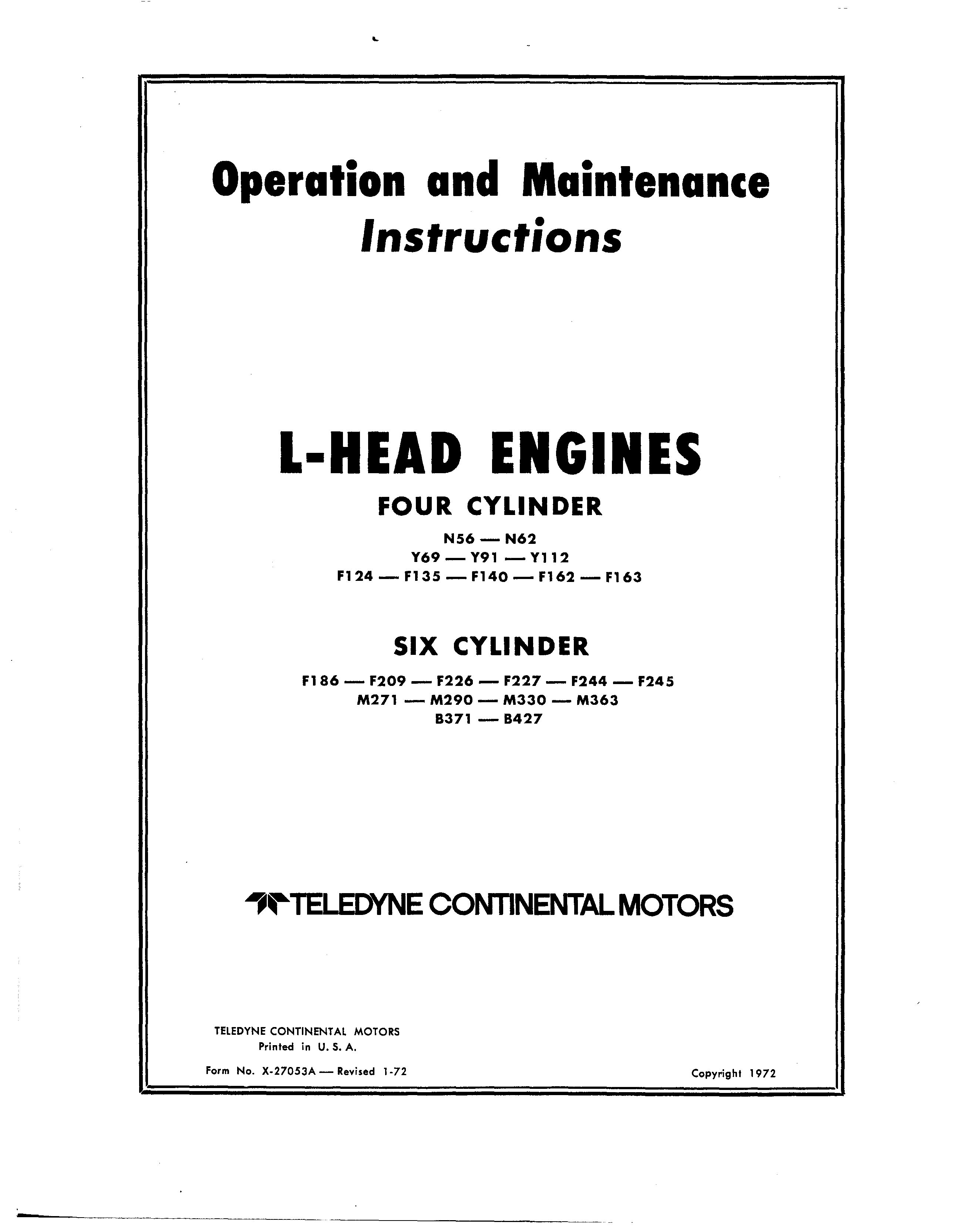 Continental L Head Engines Overhaul Manual For 4 And 5 Cylinder In 2020 Repair And Maintenance Manual Operation And Maintenance