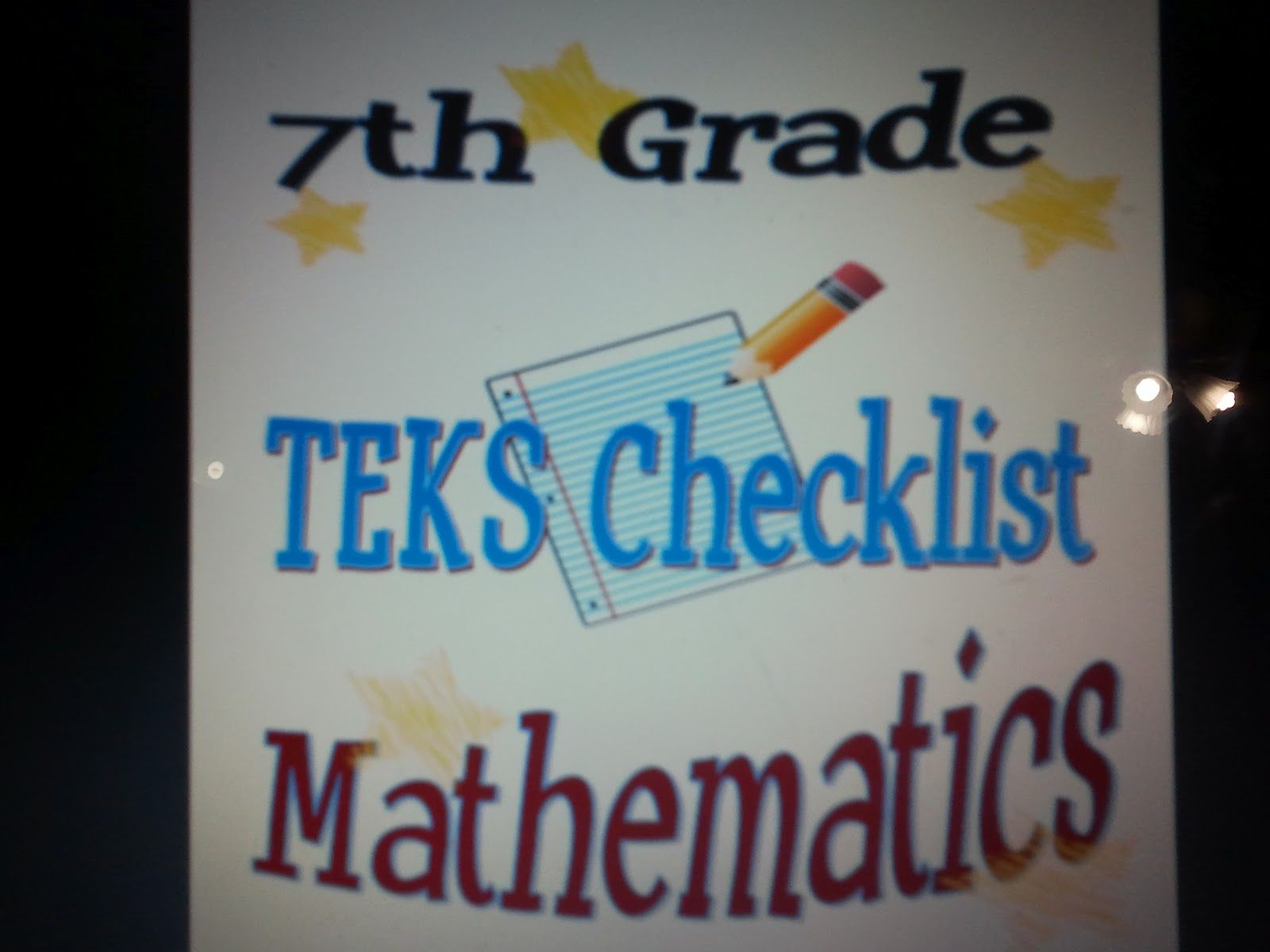 7th Grade Staar Math Teks Checklist Cookin Up Fun With