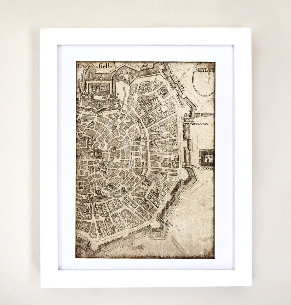 City map print milano antique digital collage art print home decor city map print milano antique digital collage art print home decor wall hanging home 1190 gumiabroncs Choice Image