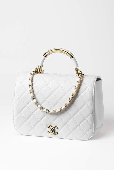 98c0e89158b5 Flap bag with top handle, lambskin & gold-tone metal-white - CHANEL ...