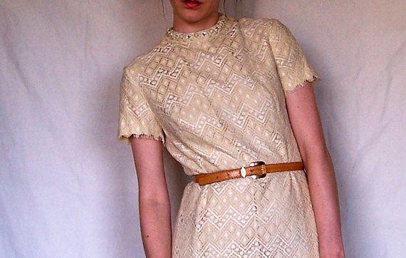 SALE Vintage Lace Dress 1960s 60s by ParkroseVintage on Etsy, $44.00