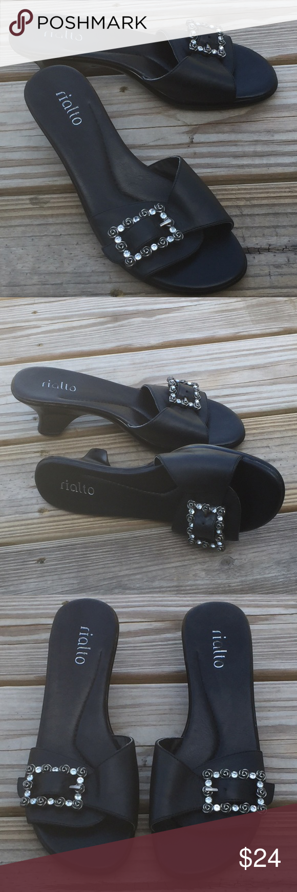 Rialto Black Genuine Leather slides w/ Rose buckle