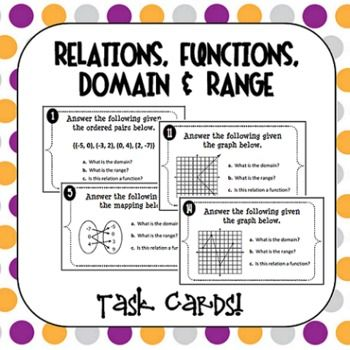 Relations, Functions, Domain and Range Task Cards | Ranges ...