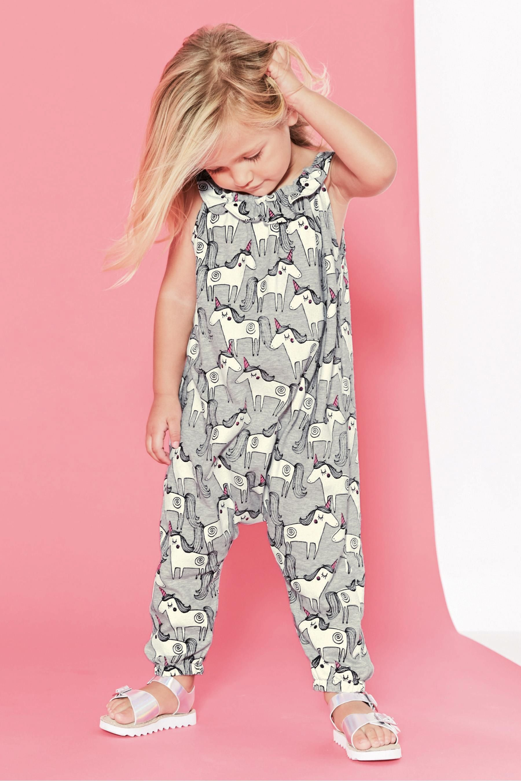 43ee8fdc5 Buy Grey Unicorn Playsuit (3mths-6yrs) from Next USA