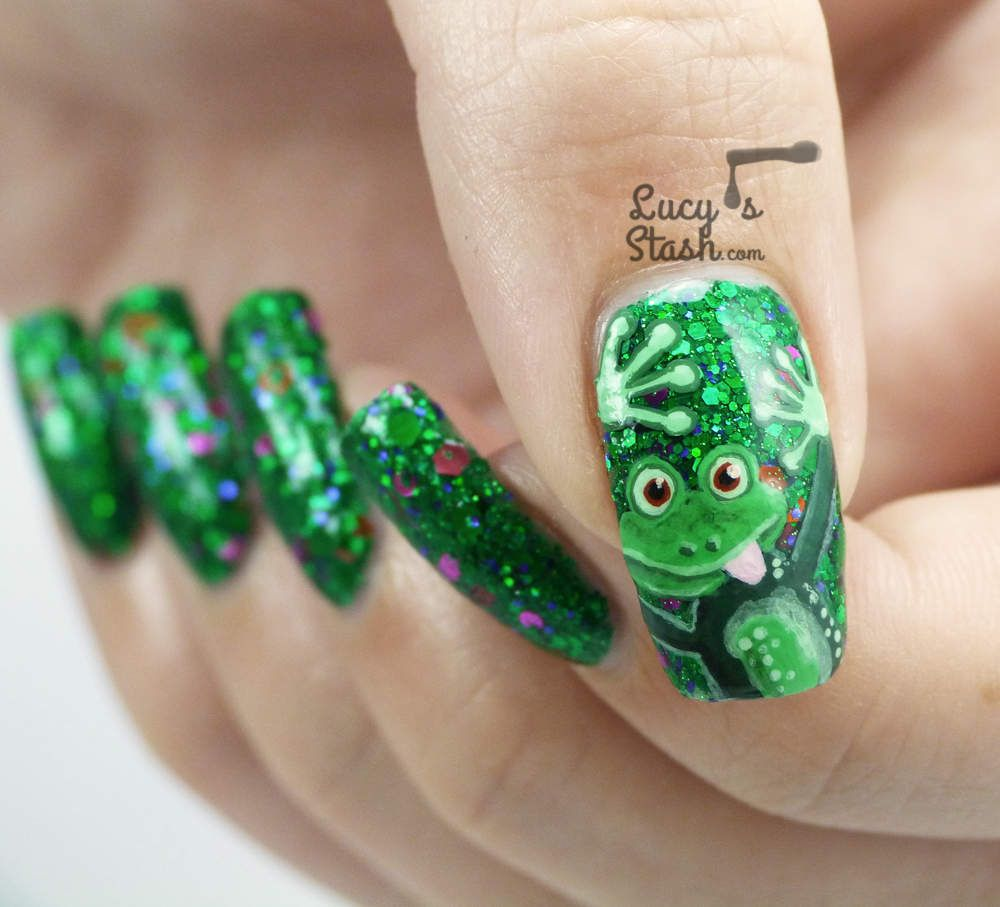 Cheeky Frog Nail Art Design - click for TUTORIAL -> http://bit.ly ...