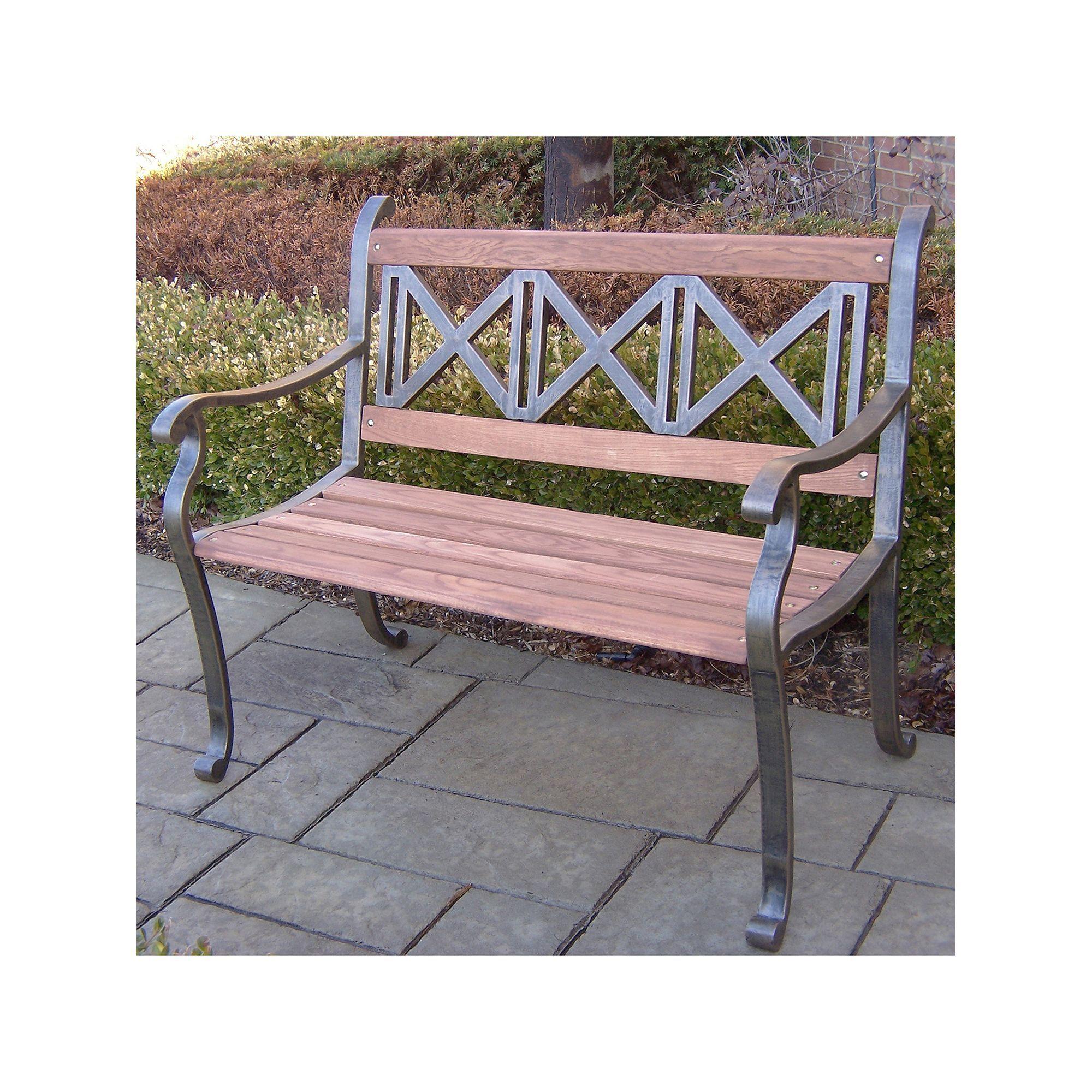 Triple Cross Outdoor Bench Brown Oth Metal Garden Benches