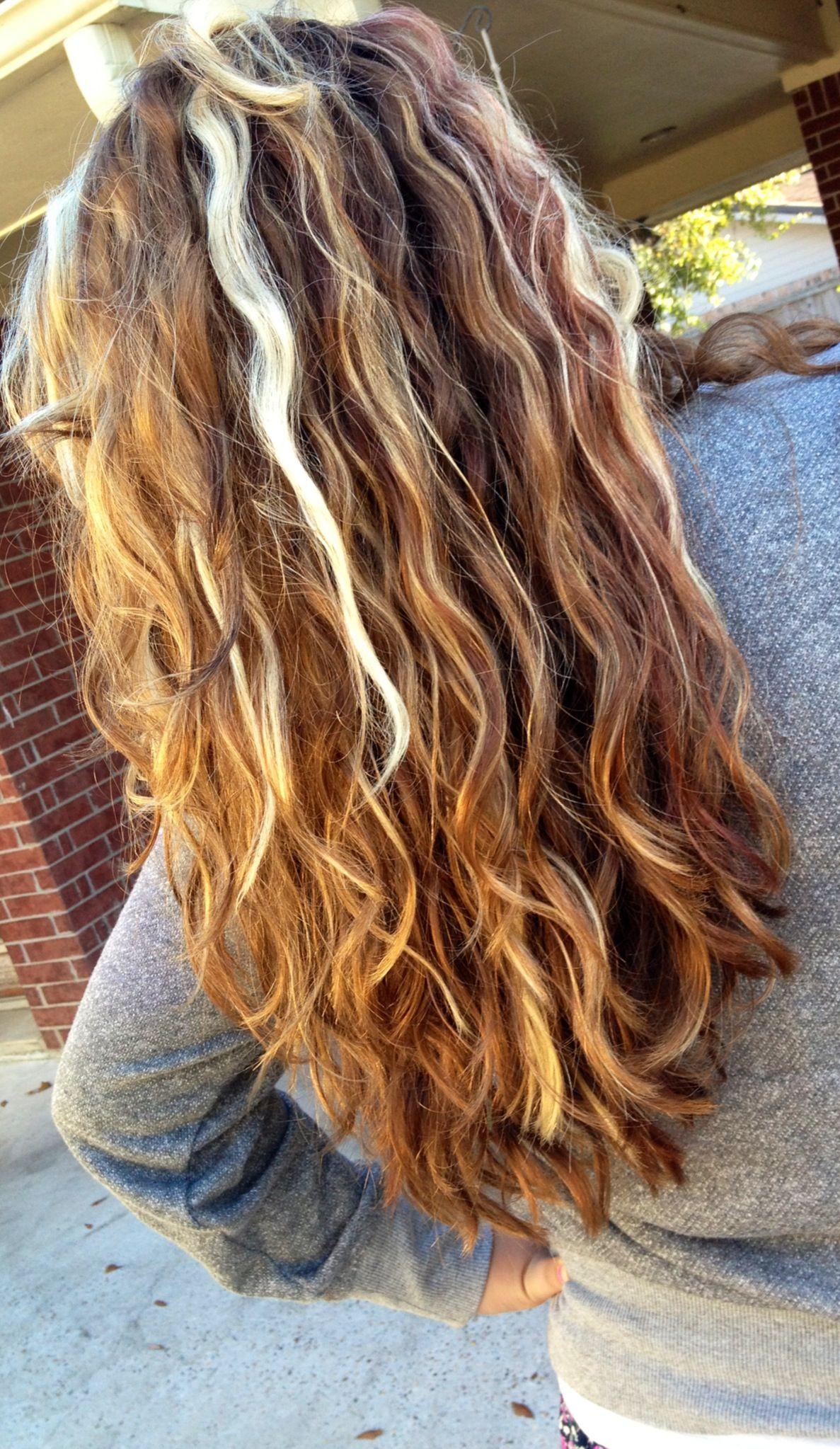 Bleach golden blonde highlights with plum lowlights hair