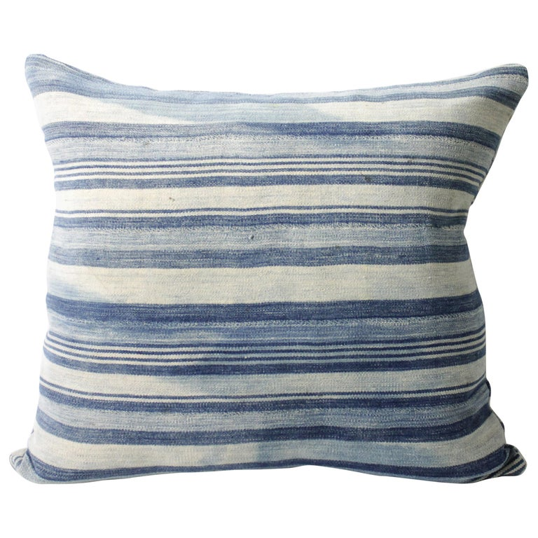 Full Bloom Cottage Antique Faded Indigo Stripe African Mudcloth Pillow Malian Bohemian Linen Hemp In 2020 African Mud Cloth Pillows Antiques