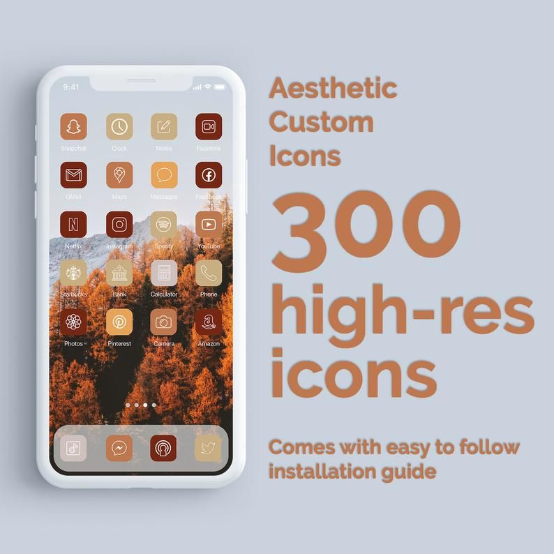 Fall Aesthetic 300 Aesthetic Custom App Icons Pack Iphone Etsy In 2021 App Icon Iphone Apps App Covers