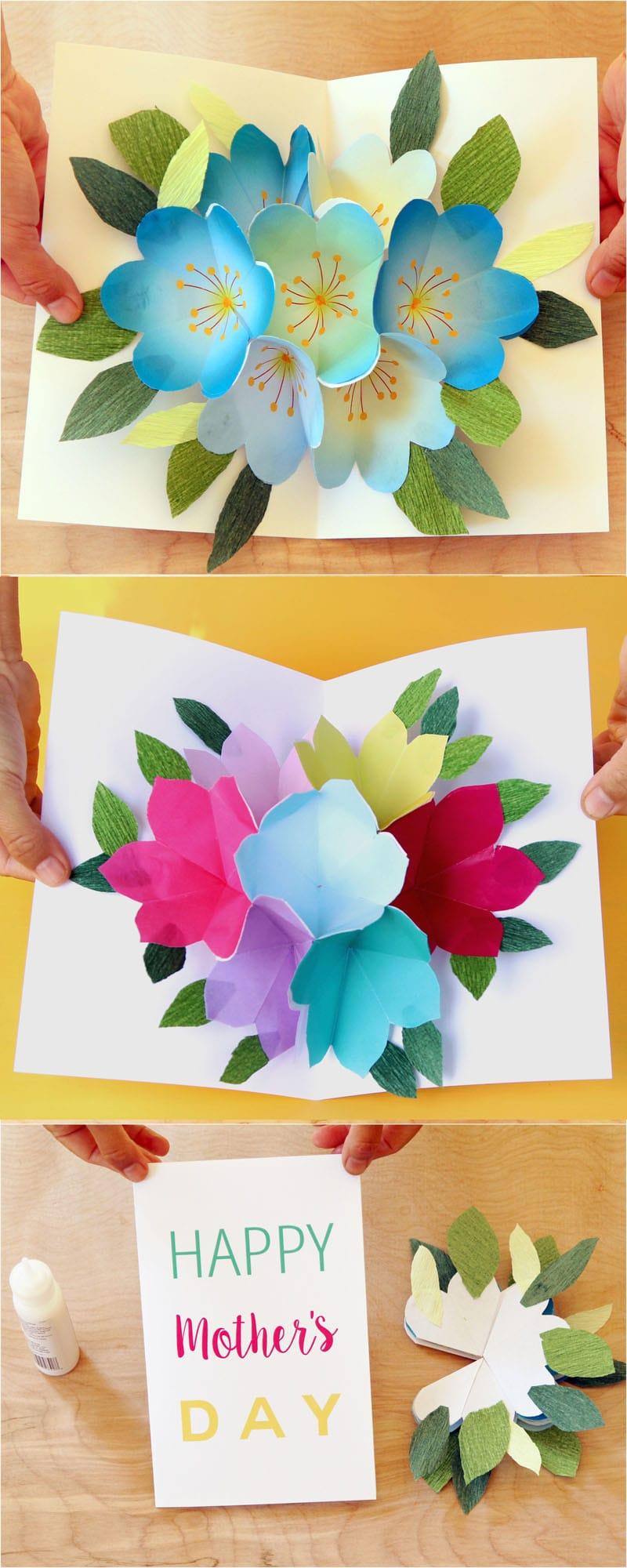 pop up flowers diy printable mother's day card  diy pop