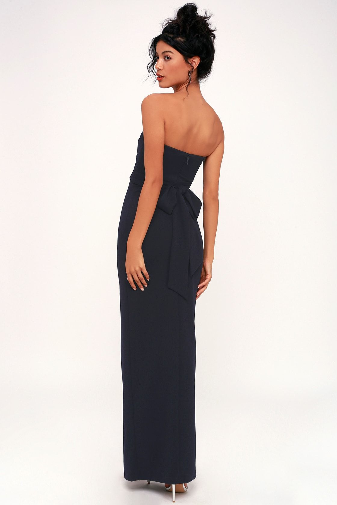 30017b739402 Lulus | Own the Night Navy Blue Strapless Maxi Dress | Size Large in ...