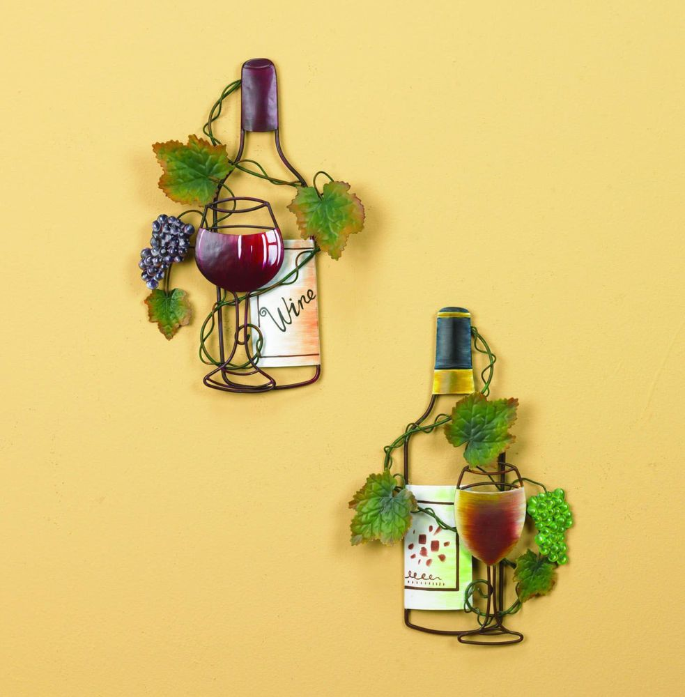 Metal Wine Bottles Grape Wall Decor Kitchen Hang Porch Inn Office ...