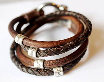Mens Personalised Bracelet Fathers Day Leather Engraved Men Band Wrap Custom Edit Listing