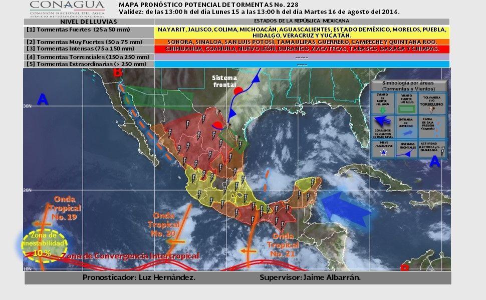 Prevé SMN lluvias con tormentas fuertes y posible formación de torbellinos o…