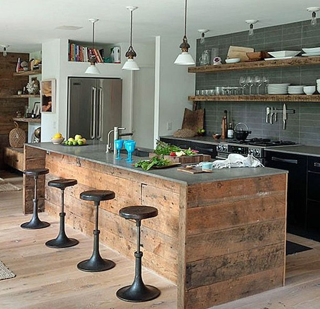42 Fabulous Rustic Kitchen Island Ideas Best For Farmhouse