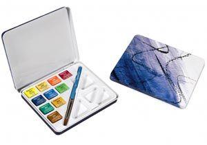 Daler Rowney Aquafine Watercolour Mini Travel Tin with Brush