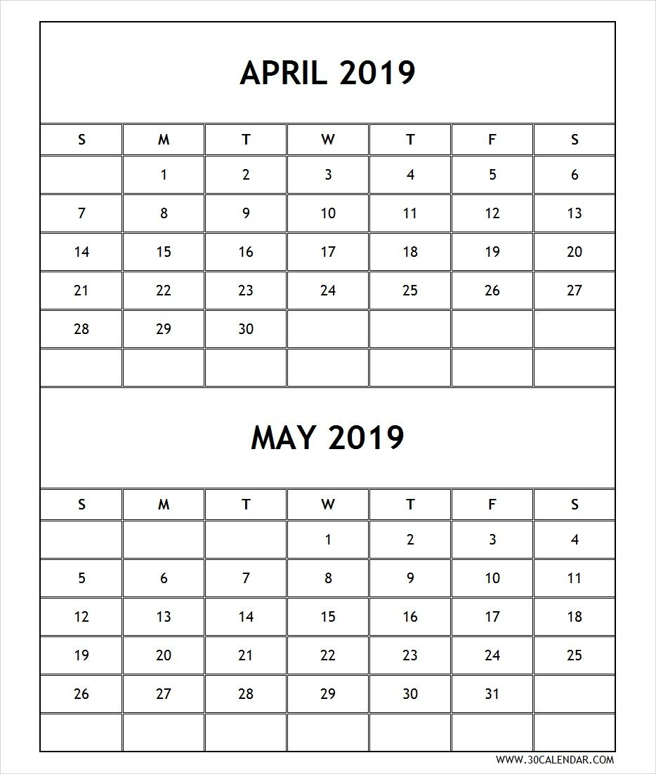 Calendar 2019 April May Printable Free April 2019 Calendar