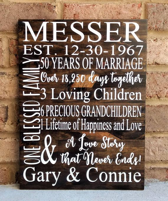 Gifts For Grandparents 50th Wedding Anniversary: 50 Years Of Marriage Hand Painted Wood Sign, 50th