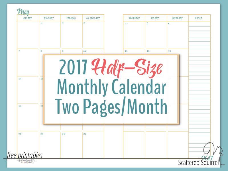 2017 Half-Size Monthly Calendar Printables Calendar printable - monthly calendar