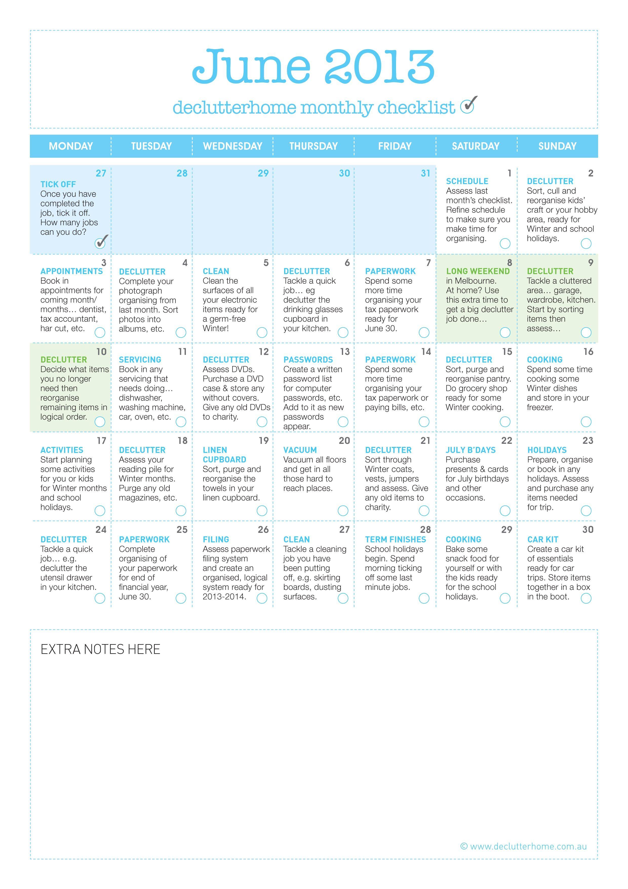 FREE Monthly Organising Checklist - June 2013