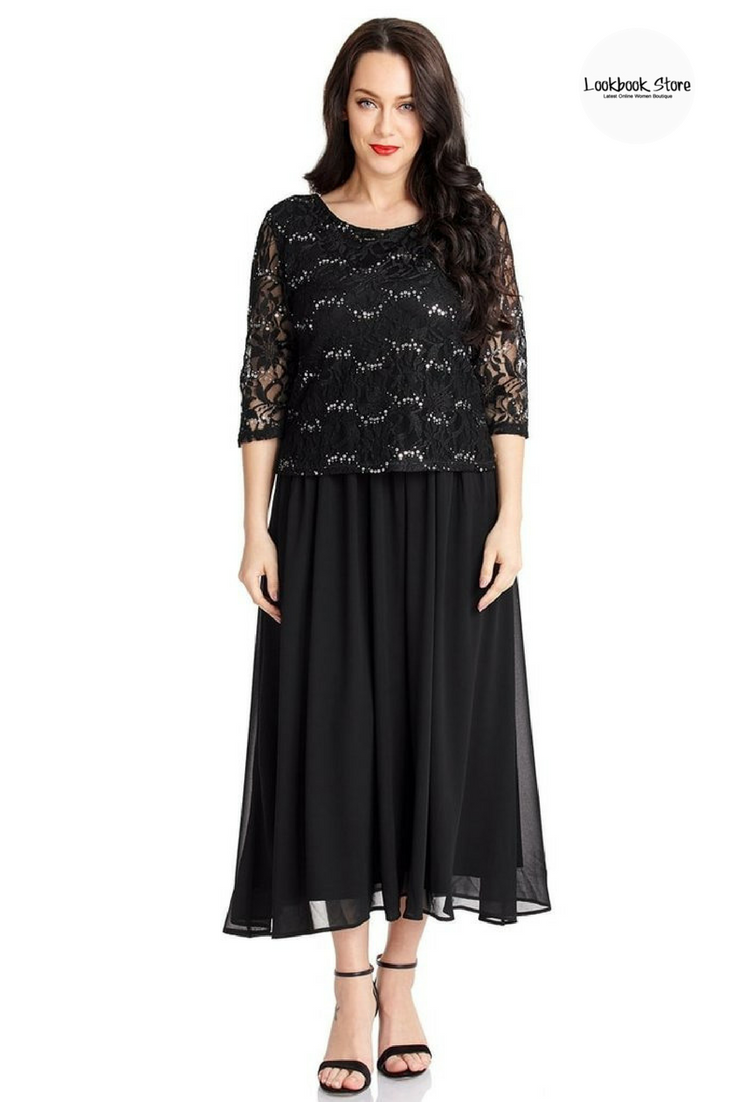 Black floral lace sequined long dress floral lace floral and black