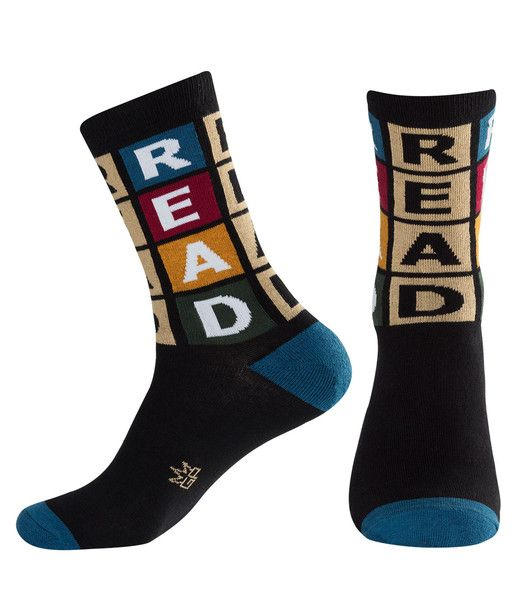 R - E - A - D ! Read Socks by Gumball Poodle... Get your reading on! #gumballpoodle #socks #funsocks #crazysocks #read #books #fashion #fun