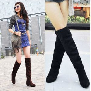Flat Suede Boots Knee High