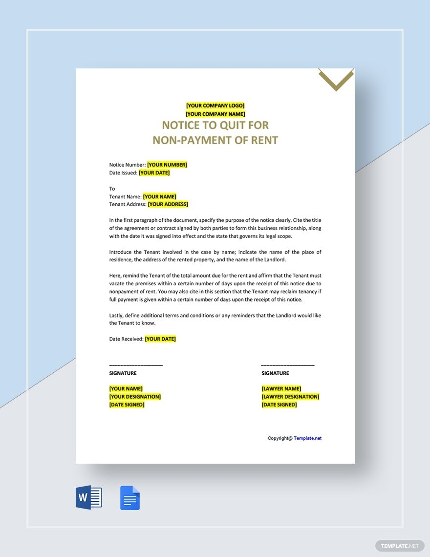 Free Sample Notice To Quit For Non Payment Of Rent Template Google Docs Word Template Net Document Templates Templates Word Doc
