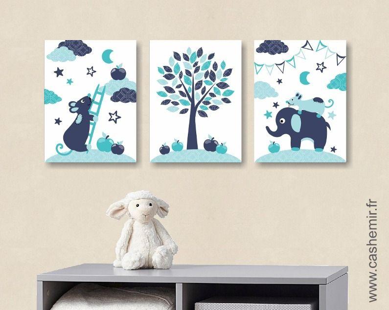 Lot de 3 illustrations pour chambre d\u0027enfant garçon, affiche poster - deco chambre turquoise gris