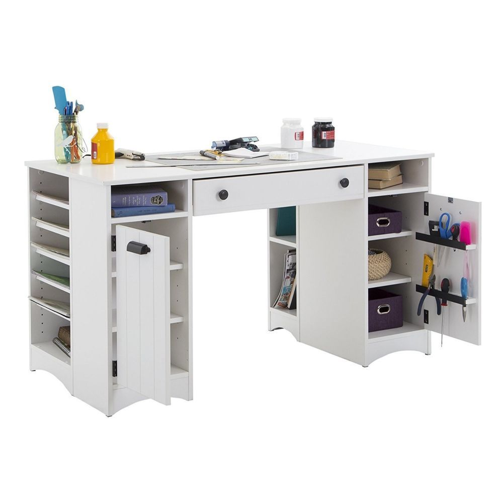 Craft Room Table Storage Cubby Shelving Sewing Hobby Art Desk White Counter Workstation Whether You Need A Wo Craft Tables With Storage Craft Table Craft Desk