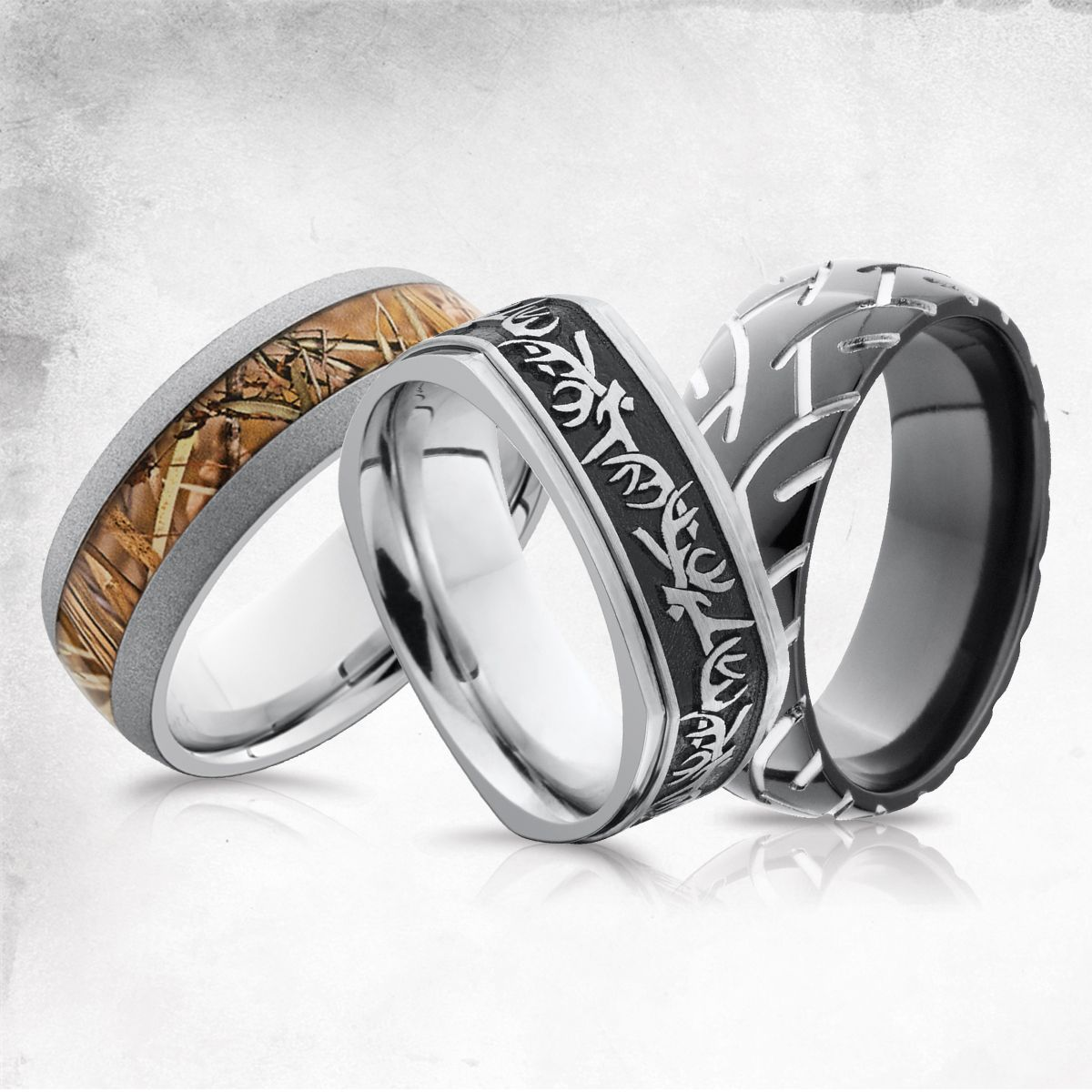 mud tire wedding ring Hunting Camo and Tire Tracks Men s Wedding Bands Men s Wedding Rings