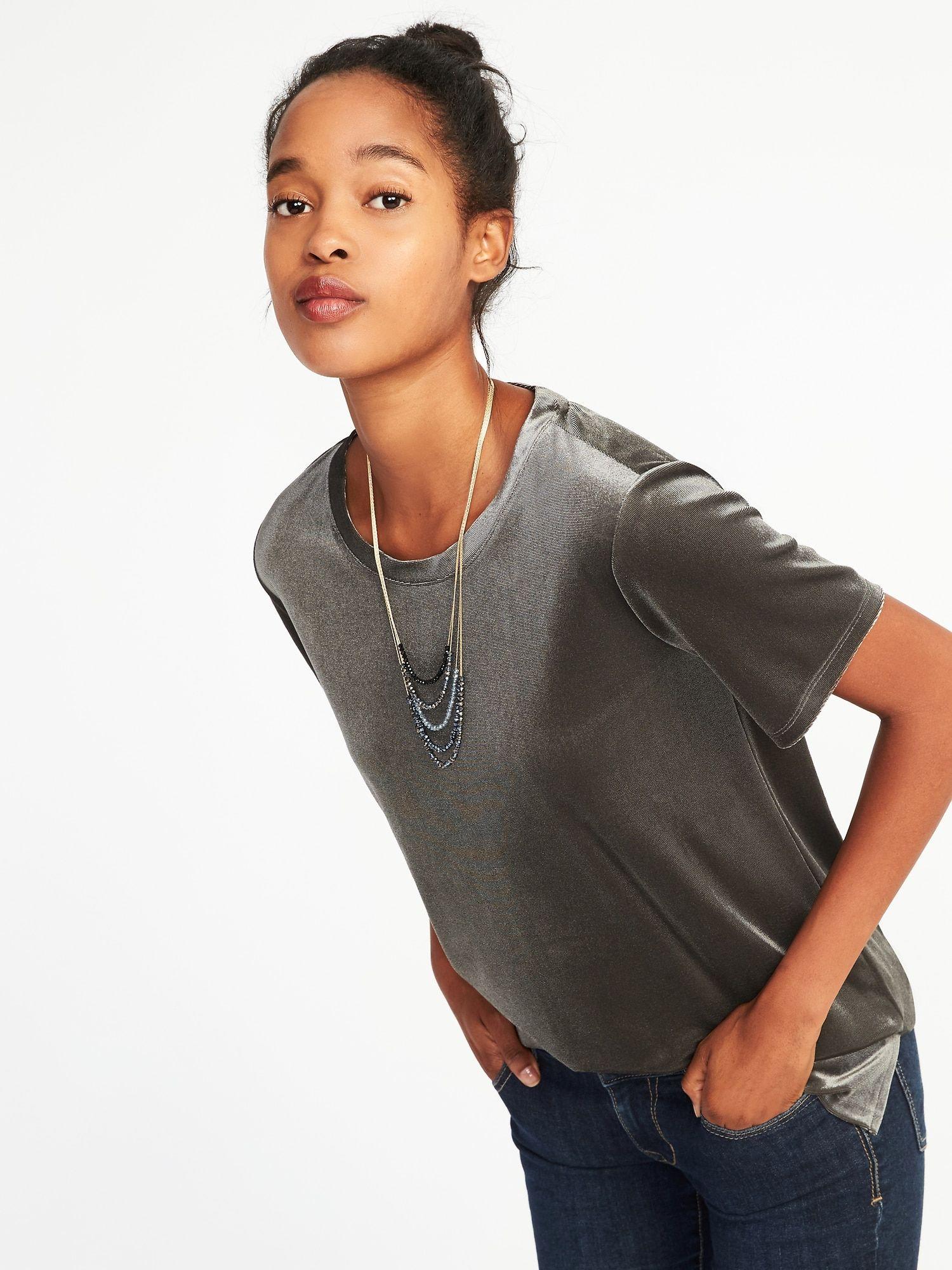 426f11c7f31 Velvet Shirt - Old Navy - Gray - Size M. Boyfriend Velvet Top for Women ...
