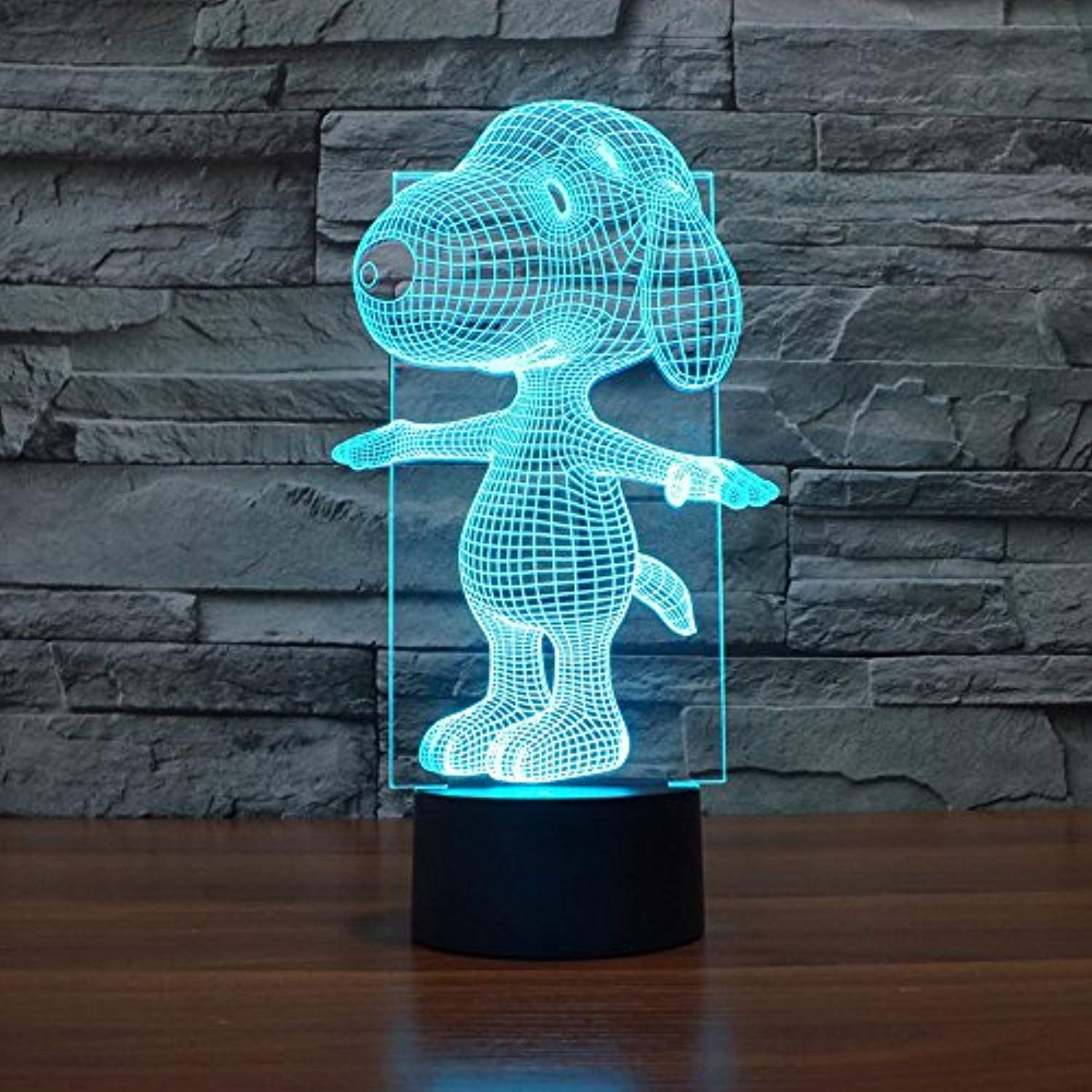 Snoopy 3d Lamp Night Light Touch Table Desk Lamps Elstey 7 Color Changing Lights With Acrylic Flat A Arte Simples Luminarias Led Ideias De Decoracao Para Casa