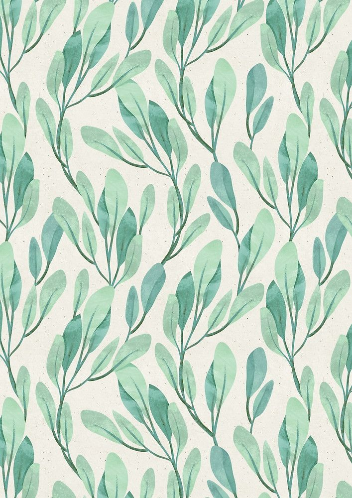 Simple Teal Green leaves by irtsya (redbubble) Pattern