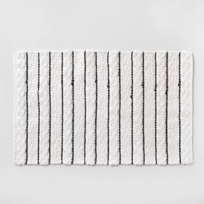Striped Bath Rug White Black Opalhouse Striped Bath Rug Bath
