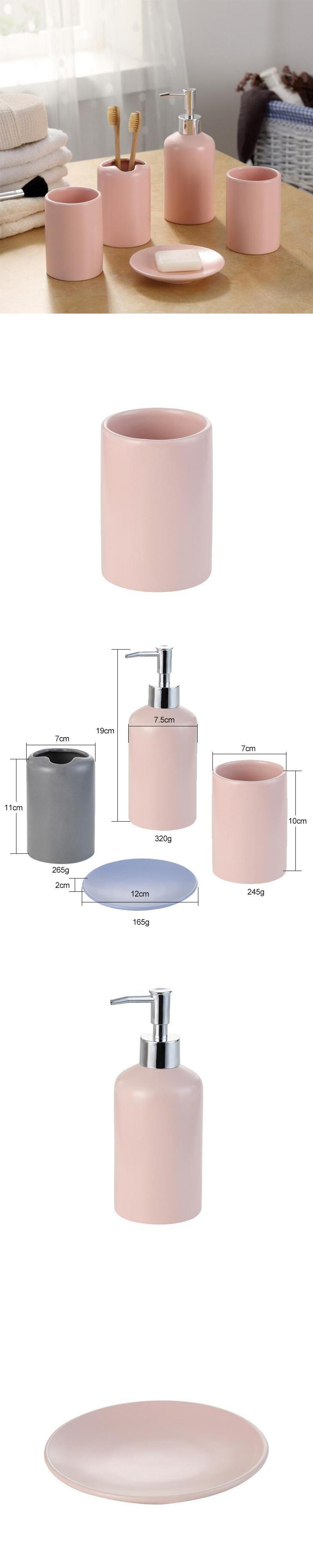 Europe 5pcs Pink Ceramic Toothbrush Holder Cup Soap Dish Shampoo ...