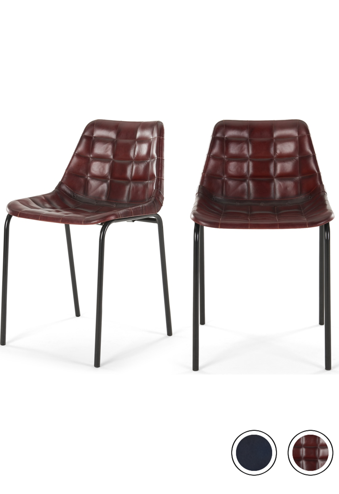 Set Of 2 Sudel Dining Chairs Ox Red Leather Dining Chairs Leather Dining Chairs Red Dining Chairs