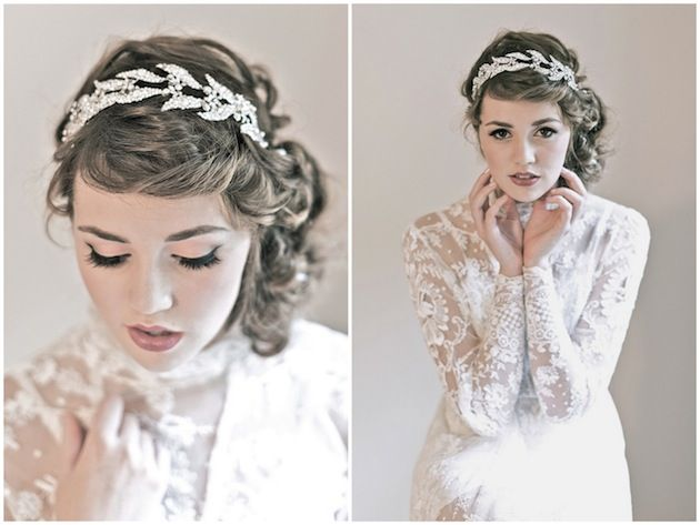 sparkle on ~ love the leaf pattern on this @ENCHANTED ATELIER bridal hairband
