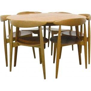 Ensemble table et ses 6 chaises à repas en teck et hêtre, Hans WEGNER - 1950