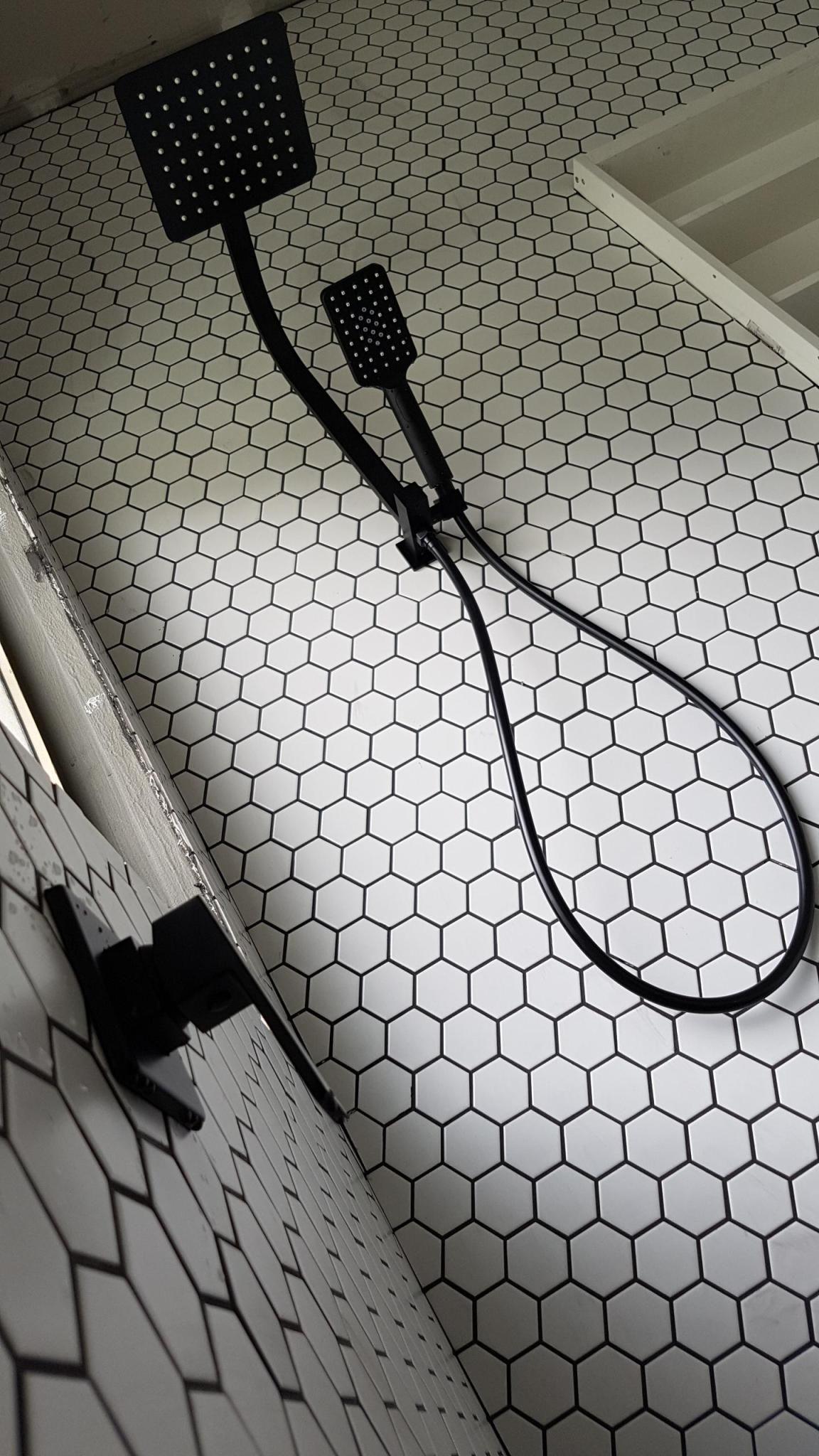 White Hexagonal Tile Black Grout Black White Bathroom Black Showers White Hexagon Tiles Black Bathroom Taps Black Grout
