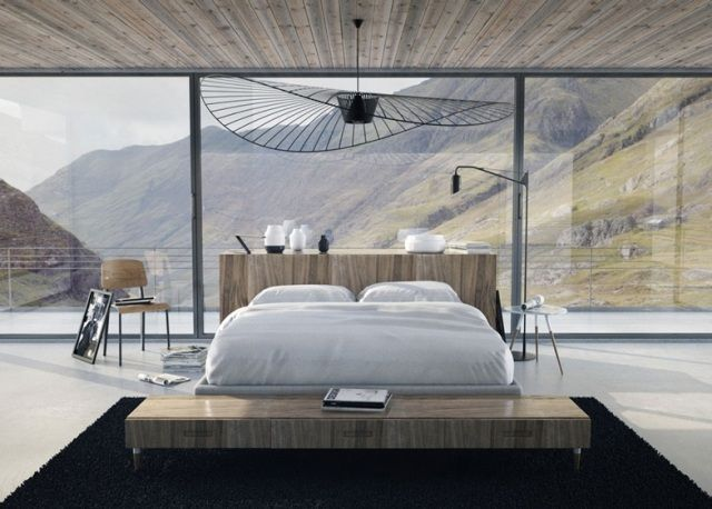 Schlafzimmer raumhohe-Verglasung Moderne-einrichtung Beleuchtung-3d